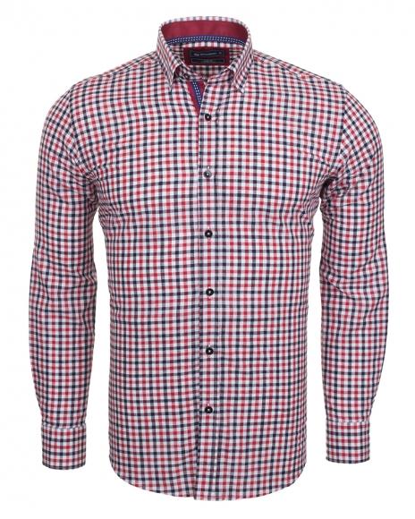 Oscar Banks - Cotton Check Classical Long Sleeved Mens Shirt SL 5849