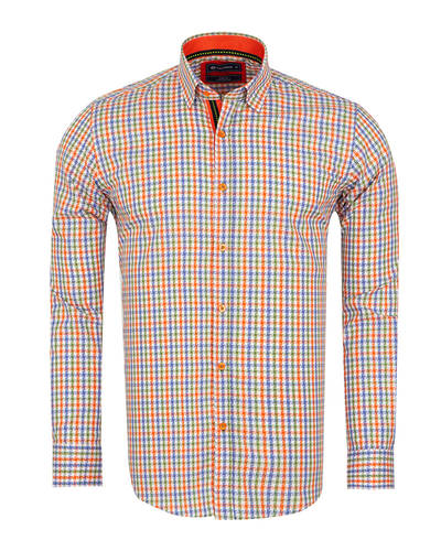 Oscar Banks - Multicolor Check Classical Long Sleeved Mens Shirt SL 5851