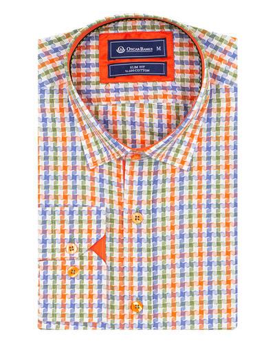 Oscar Banks - Multicolor Check Classical Long Sleeved Mens Shirt SL 5851 (1)