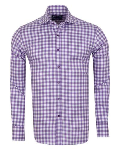 Oscar Banks - Oscar Banks Check Classical Long Sleeved Mens Shirt SL 5949 (Thumbnail - )