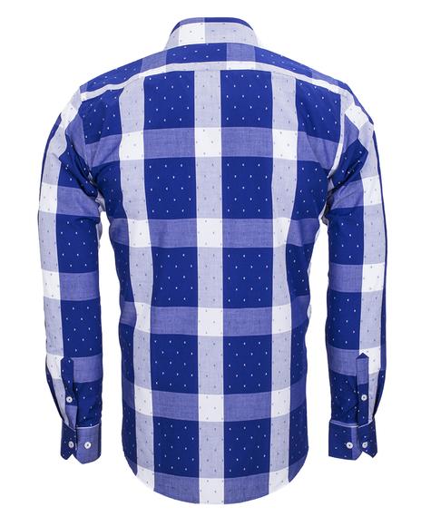 MAKROM - Cotton Check Classical Long Sleeved Mens Shirt SL 5990 (1)