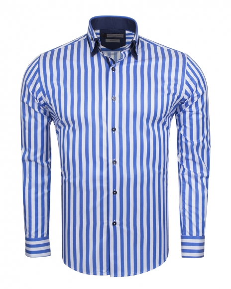 FRANCO GILBERTO - Double Collar Striped Long Sleeved Shirt SL 6109