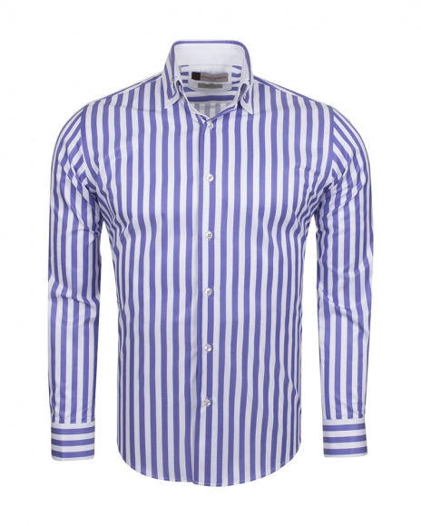 FRANCO GILBERTO - Double Collar Striped Long Sleeved Shirt SL 6109 (Thumbnail - )