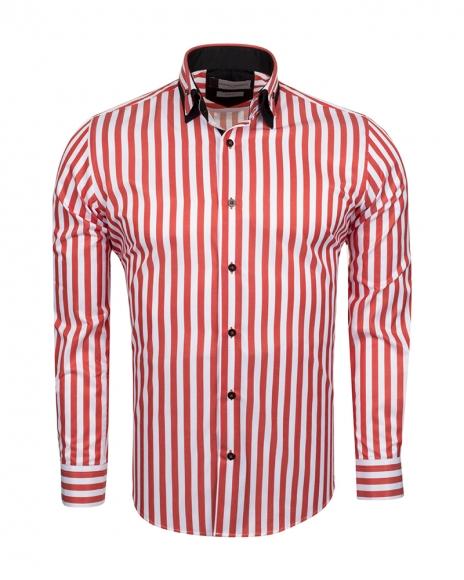 FRANCO GILBERTO - Double Collar Striped Long Sleeved Shirt SL 6109 (Thumbnail - )