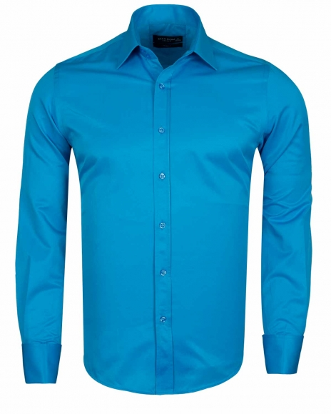 MAKROM - Plain Double Cuff Long sleeved Mens Shirt SL 6111