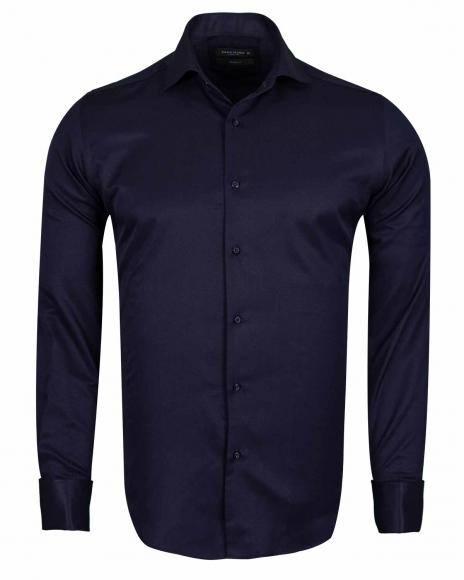 MAKROM - Plain Double Cuff Long sleeved Men Dress Mens Shirt SL 6144 (Thumbnail - )
