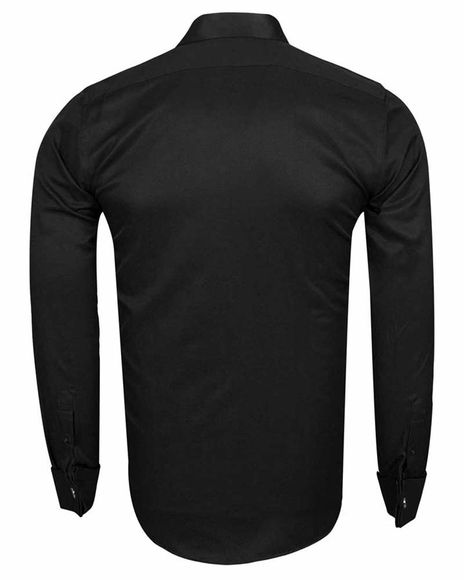 MAKROM - Plain Double Cuff Long sleeved Men Dress Mens Shirt SL 6144 (1)
