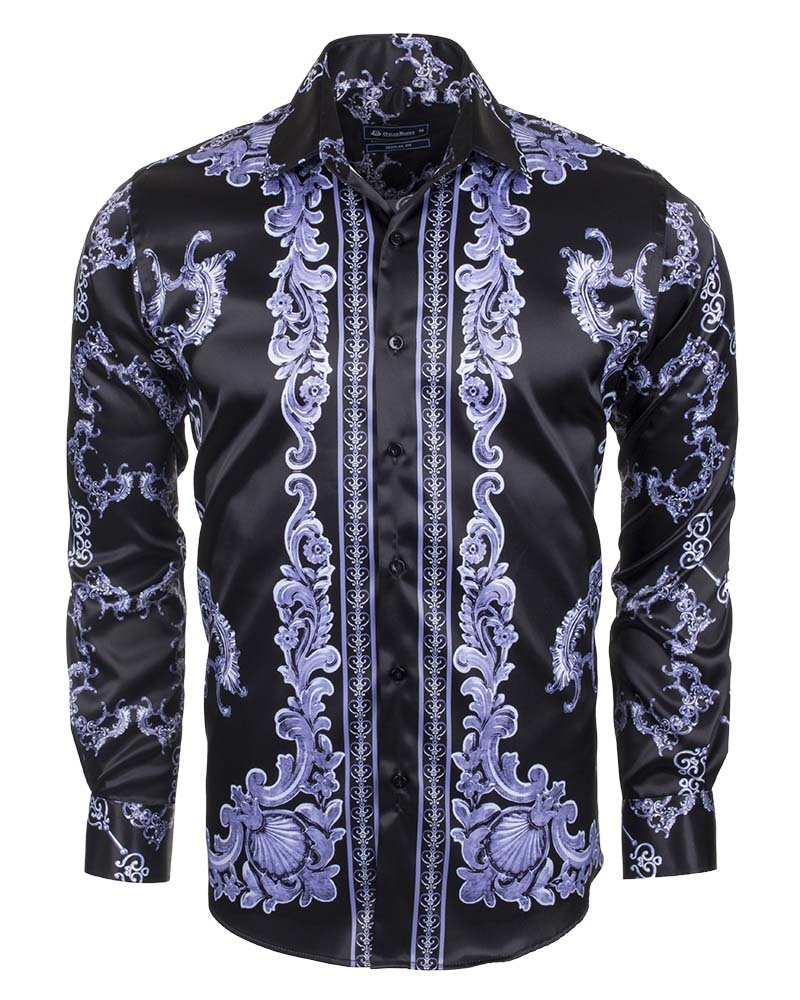 be149e74 Premium Printed Long Sleeved Satin Shirt SL 6428 | OSCAR BANKS