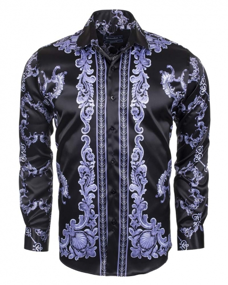 Oscar Banks - Premium Printed Long Sleeved Satin Shirt SL 6428 (1)