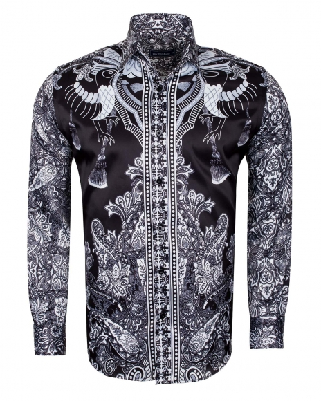 Oscar Banks - Special Pattern Printed Long Sleeved Satin Shirt SL 6431 (Thumbnail - )