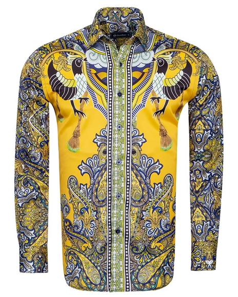 Oscar Banks - Special Pattern Printed Long Sleeved Satin Shirt SL 6431