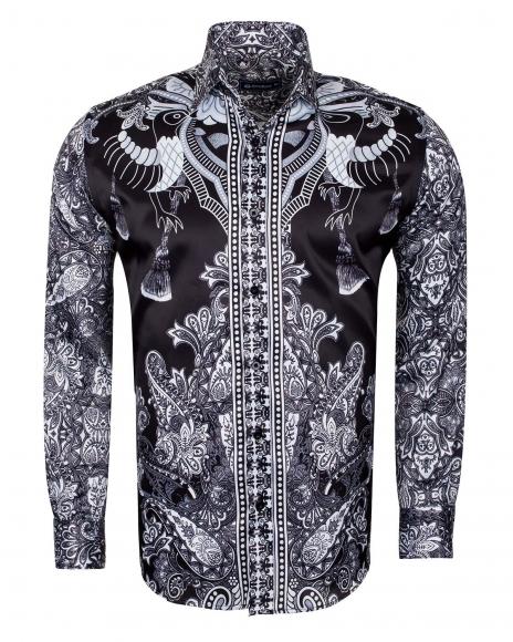 OSCAR BANKS - Special Pattern Printed Long Sleeved Satin Shirt SL 6431