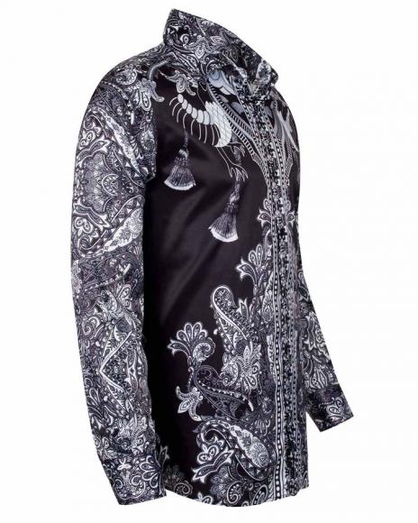 OSCAR BANKS - Special Pattern Printed Long Sleeved Satin Shirt SL 6431 (1)