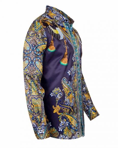 OSCAR BANKS - Special Pattern Printed Long Sleeved Satin Shirt SL 6431 (Thumbnail - )