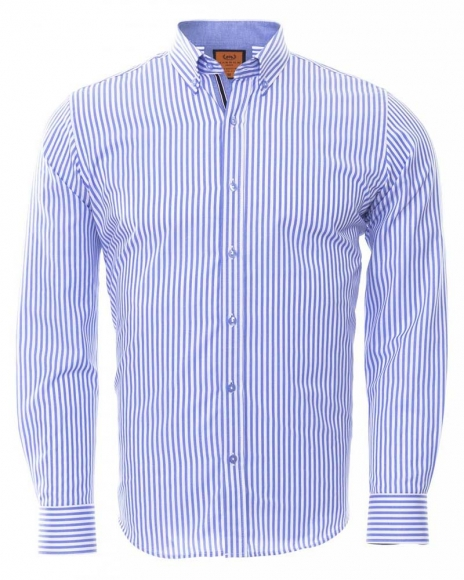 MAKROM - Button Down Collar Striped Long Sleeved Shirt SL 6480 (Thumbnail - )
