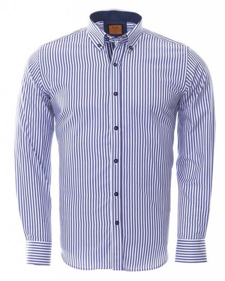 MAKROM - Button Down Collar Striped Long Sleeved Shirt SL 6480 (Thumbnail - )