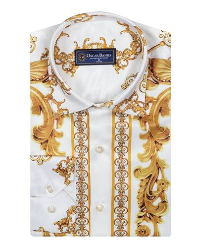 Printed Long Sleeved Mens Shirt Satin Mens Shirt SL 6490