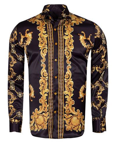 Oscar Banks - Printed Long Sleeved Mens Shirt Satin Mens Shirt SL 6490 (Thumbnail - )