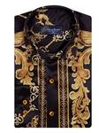 Printed Long Sleeved Mens Shirt Satin Mens Shirt SL 6490 - Thumbnail