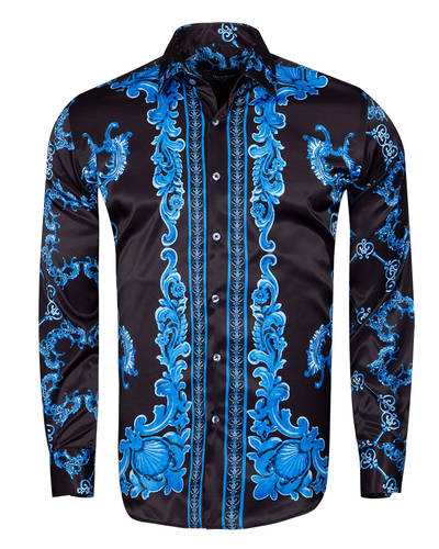Oscar Banks - Printed Long Sleeved Mens Shirt Satin Mens Shirt SL 6490