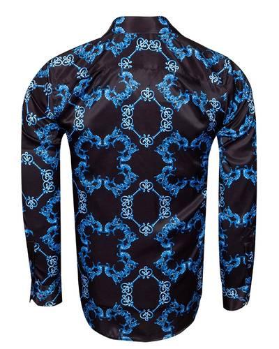 Oscar Banks - Printed Long Sleeved Mens Shirt Satin Mens Shirt SL 6490 (1)