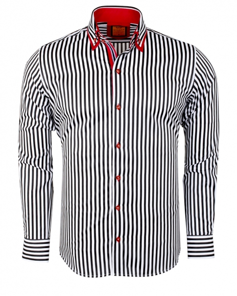 MAKROM - Double Collar Striped Long Sleeved Shirt SL 6493