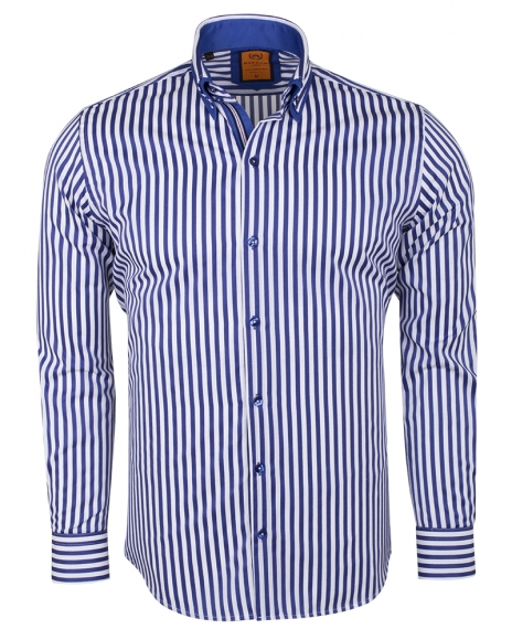 MAKROM - Double Collar Striped Long Sleeved Shirt SL 6493 (Thumbnail - )