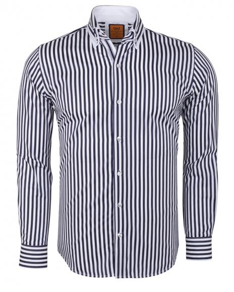 MAKROM - Double Collar Striped Long Sleeved Shirt SL 6493 (Thumbnail - )