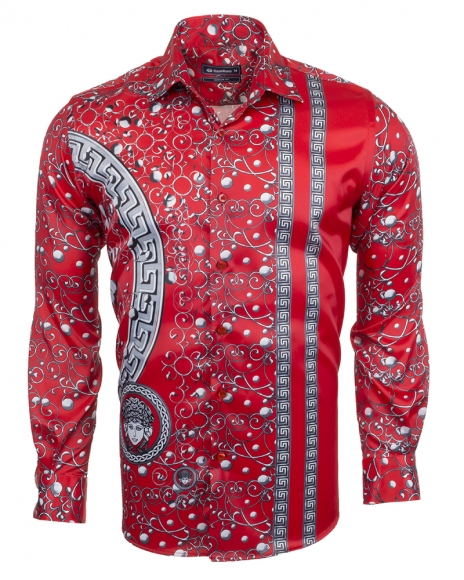 Oscar Banks - Premium Printed Long Sleeved Satin Shirt SL 6512 (1)