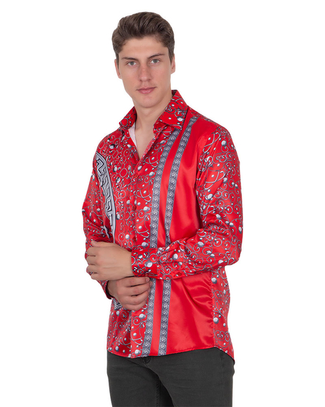 Oscar Banks - Premium Printed Long Sleeved Satin Shirt SL 6512