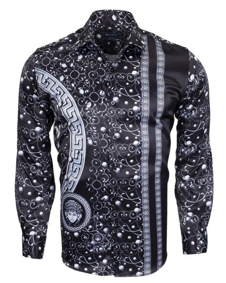 OSCAR BANKS - Premium Printed Long Sleeved Satin Shirt SL 6512 (Thumbnail - )