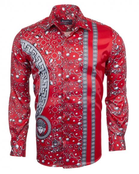 OSCAR BANKS - Premium Printed Long Sleeved Satin Shirt SL 6512