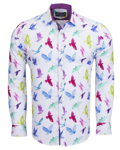 Oscar Banks - Birds Printed Long Sleeved Shirt SL 6536