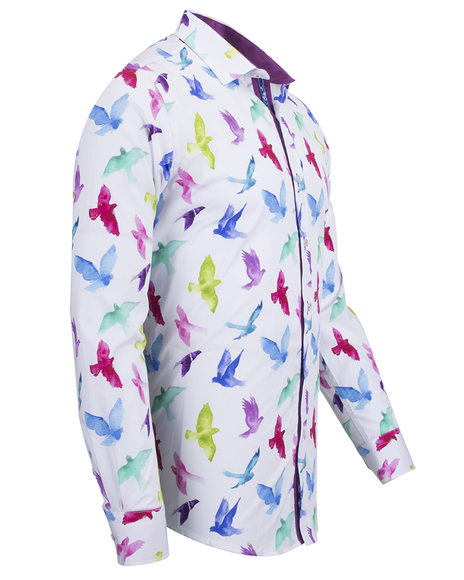 Oscar Banks - Birds Printed Long Sleeved Shirt SL 6536 (1)