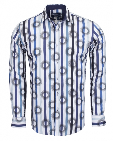 Oscar Banks - Oscar Banks Cotton Striped Long Sleeved Shirt SL 6543