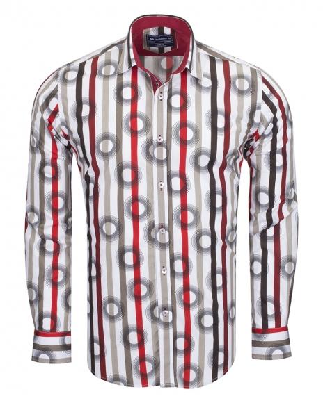 Oscar Banks - Oscar Banks Cotton Striped Long Sleeved Shirt SL 6543 (Thumbnail - )