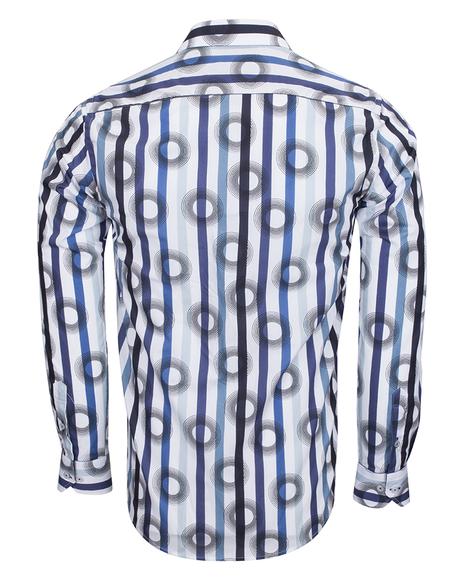Oscar Banks - Oscar Banks Cotton Striped Long Sleeved Shirt SL 6543 (1)