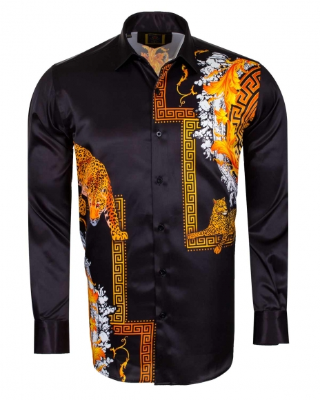 Oscar Banks - Tiger Printed Satin Long Sleeved Shirt SL 6546