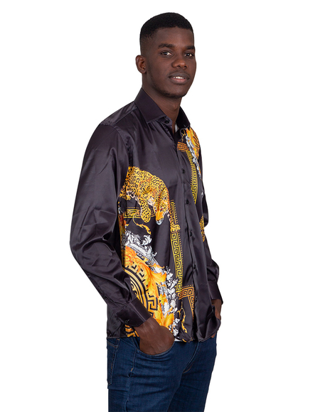 Oscar Banks - Tiger Printed Satin Long Sleeved Mens Shirt SL 6546