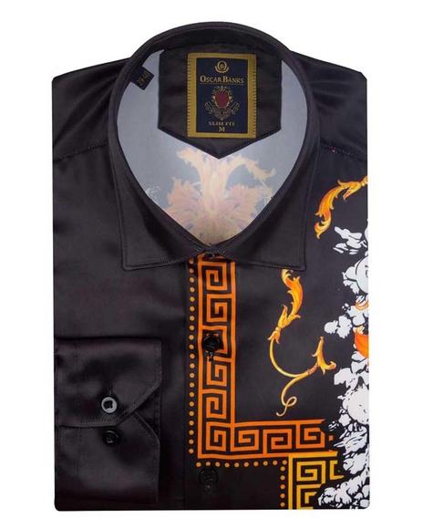 Tiger Printed Satin Long Sleeved Mens Shirt SL 6546