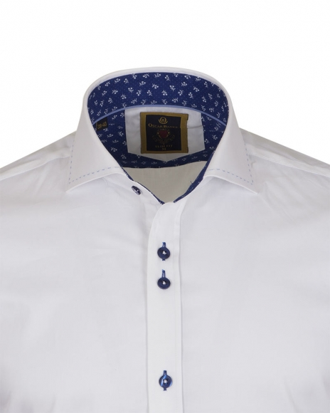 Long Sleeved Mens Shirt With Collar Contrast SL 6556