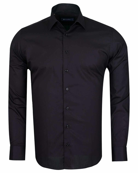 Oscar Banks - Plain Long Sleeved Cotton Dress Mens Shirt SL 6610