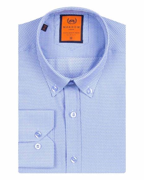 MAKROM - MAKROM Mens Textured Long Sleeved Shirt SL 6617 (1)