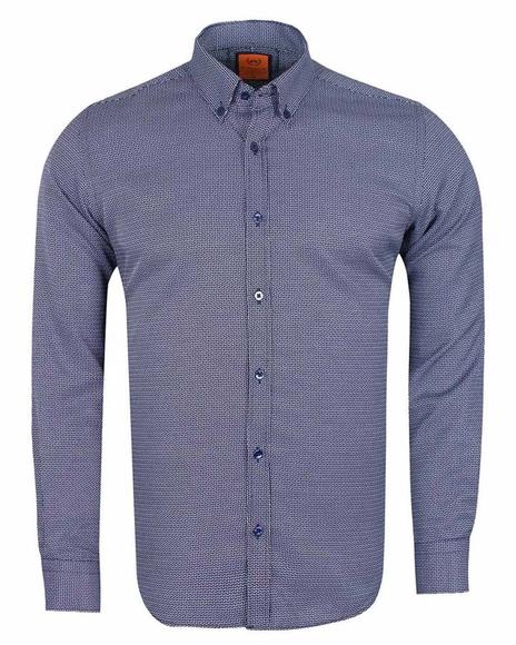 MAKROM - MAKROM Mens Textured Long Sleeved Shirt SL 6617 (Thumbnail - )