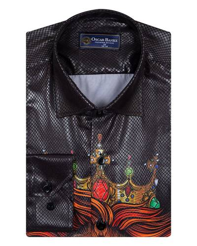 MAKROM - Snake Skin Covered Stripes Printed Mens Shirt SL 6981 (1)