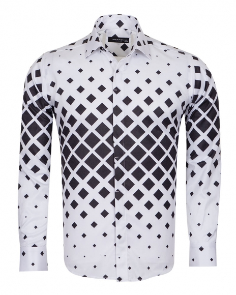 Squares Printed Long Sleeved Mens Shirt SL 6735