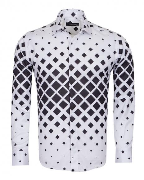 MAKROM - Squares Printed Long Sleeved Mens Shirt SL 6735