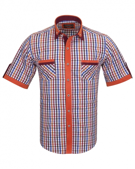 MAKROM - Short Sleeved Check Shirt With Chest Pocket SS 6042 (Thumbnail - )