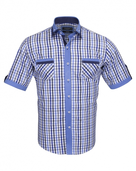 MAKROM - Short Sleeved Checkhered Shirt With Chest Pocket SS 6042 (Thumbnail - )