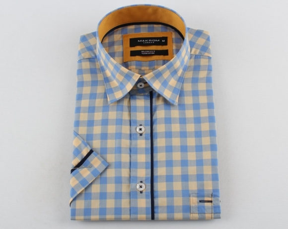 MAKROM - Check Short Sleeved Shirt with Chest Pocket SS 6050 (Thumbnail - )